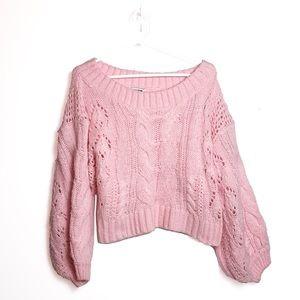 Fashion Nova Pink Balloon Sleeve Cropped Sweater